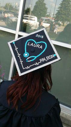 Decorated nursing school graduation cap
