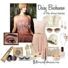 Get Daisy's soft look with rose gold tones and blush colors. Daisy Buchanan by halloweencostumesdotcom on Polyvore