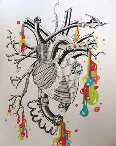Abstract Heart Medical Art, Anatomical Heart, Heart Images, Human Heart, Anatomy Art, Diy Canvas Art, Heart Art, Art Techniques, Body Painting