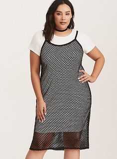 6c951a0f6c1 Runway Collection - Black Fishnet Overlay   White Knit Bodycon T-Shirt Dress.  Torrid