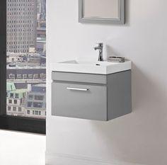 "Metropolitan 21"" Wall Mount Vanity and Sink Set - Glossy Light Gray - Fairmont Designs - Fairmont Designs"