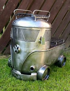Discover thousands of images about VW smoker Metal Projects, Welding Projects, Metal Crafts, Combi Ww, Vw Camping, Scrap Metal Art, Rocket Stoves, Log Burner, Automotive Decor