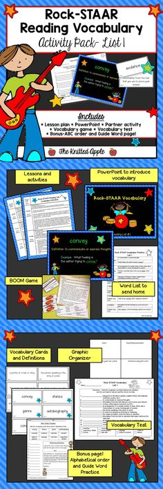 Vocabulary practice for 12 key words used in third grade reading passages and comprehension questions.