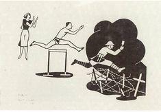 """""""Sport""""   Woodcut by Gerd Arntz, 1928"""