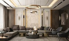 living room with Neoclassic style on Behance Ceiling Design Living Room, False Ceiling Design, Home Room Design, Interior Design Living Room, Living Room Designs, Living Room Decor, Dining Room, Dining Table, House Design