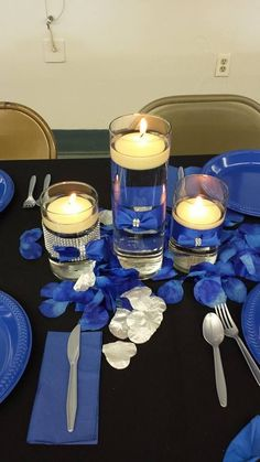 From the anniversary party. Royal blue, black and silver. Candles with a … From the anniversary party. Royal blue, black and silver. Candles with a bit of bling Silver Party Decorations, Blue Centerpieces, Quince Decorations, Wedding Reception Decorations, Fish Centerpiece, Wedding Ideas, Wedding Pictures, Wedding Details, 25th Wedding Anniversary