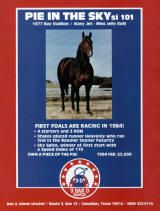Pie In The Sky(1977)Easy Jet- Miss Jelly Roll By Roulade(TB). 3x5 To Three Bars, 4x5 To Percentage. 13 Starts 5 Wins 2 Seconds 4 Thirds. $616,328. 1979 Champion 2 YO Quarter Horse Colt. Won All American Futurity, 3rd Kindergarten Futurity, Dash For Cash Futurity. Easy Jet(Pie IN The Sky Sire) Is From The Same Sire Line As Go Man Go Who Was Inbred To Man O War Line And His Broodmare Sire Family(Three Bars) Is Inbred To The Speedy Sire Line Of Domino Three Times. Died In 2001.