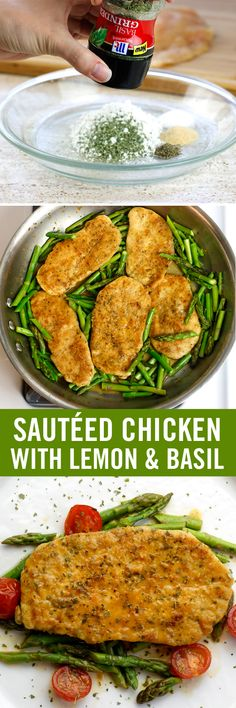 How much basil goes into this sautéed lemon chicken recipe? As much you like! Twist our Basil Herb Grinder directly into the chicken coating and sauce while prepping and cooking. Ready to serve? Garnish with more basil for a delicious and easy weeknight meal.