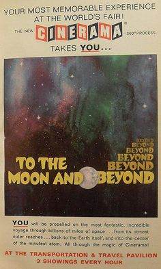 1964 1965 Worlds Fair NEW YORK CITY advertisement To The Moon And Beyond Movie CINERAMA vintage illustration graphics