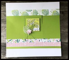 Tropical chic Scrapbook Page (Stamp Club to Go) (Pink Buckaroo Designs) Photo Album Scrapbooking, Scrapbook Page Layouts, Scrapbook Albums, Scrapbooking Ideas, Go Pink, Travel Scrapbook, Smash Book, Stamping Up, Page Design