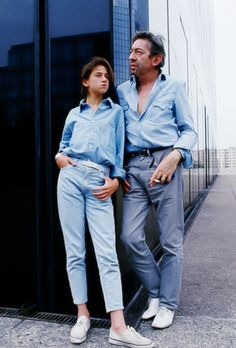 Serge Gainsbourg with his daughter Charlotte, whose mother is Jane Birkin, 1985, Paris, France