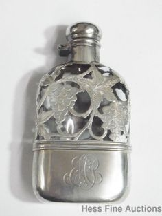 Antique Alvin Sterling Silver Grapevine Embossed Half Pint Size Glass Flask cnx