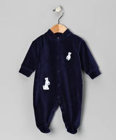 Navy Doggie Velour Footie by Noa Lily on Zulily