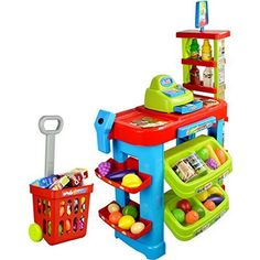 "SUPER MARKET CASH REGISTER SET. Super Market Set with Cash Register. Scanner with Light and Sound!. Comes with Toy Cash Register, Shopping Cart, Pretend Food and Money!. Includes Various Fruits, Vegetables, Groceries, etc!. Product size: 24 x 15 x 31.5""."