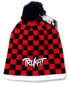 3a053d0e0ea New 22 TRUKFIT POM BEANIE Red Black Checkered Plaid Winter Knit Hat Men  Women