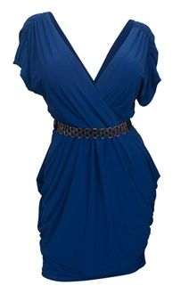 Image of Plus size Deep V-Neck Wrap Bodice Dress Royal Blue