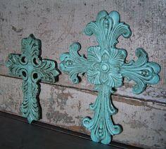 Aqua crosses for my friend Liz! = }