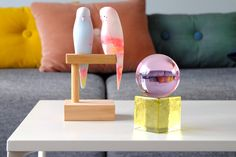 OH MY Mini Glass Sculpture in Pink with Yellow Base by Maria Gustavsson Strups for Swedish Ninja for sale at Pamono Glass Brick, Blue Tourmaline, Design Blogs, Swedish Design, Scandinavian Modern, Design Show, Gift For Lover, Colored Glass, Contemporary Design