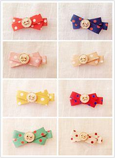 Little MiMi Polka Dot Bow Hair Clip girl by Kiyumimi on Etsy, $5.00