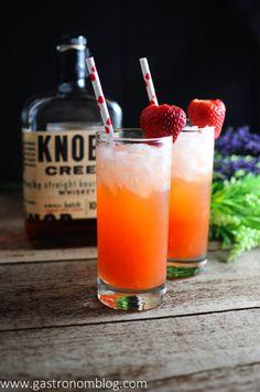 The Bourbon Sweetheart - Knob Creek Bourbon, strawberries, ginger liqueur, and club soda.