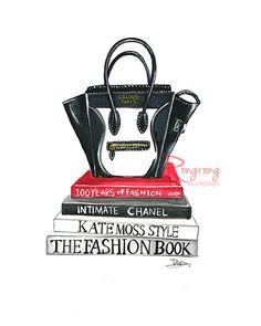 Handbag fashion illustration of Celine bag and Chanel book. Fashion wall art by RongrongIllustration