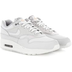 Nike Nike Air Max 1 Premium Suede Sneakers ($165) ❤ liked on Polyvore featuring shoes, sneakers, grey, nike footwear, gray sneakers, suede leather shoes, grey shoes and nike sneakers