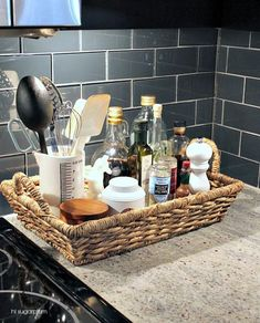 It's okay to leave everyday essentials on your counter top! A basket to hold them all is a nice way to do it!