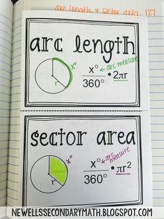 Sector Area and Arc Length Foldable for the Geometry Interactive Notebook math Geometry Lessons, Teaching Geometry, Geometry Activities, Geometry Worksheets, Teaching Math, Math Lessons, Math Teacher, Teaching Ideas, Math Worksheets