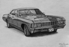 1967 Chevrolet Impala by orhano Chevrolet Impala 1967, Impala 67, Cool Car Drawings, Pencil Drawings, 3d Drawings, Ford, Cadillac, Car Tattoos, Cars Coloring Pages