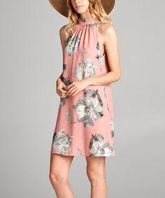 Look at this #zulilyfind! Pink Floral Mock Neck Dress #zulilyfinds