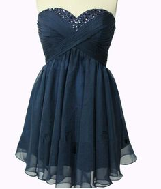 Cute Navy Blue Short Prom Dress