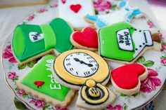 Beautiful cookies at an Alice in Wonderland girl birthday party!  See more party ideas at CatchMyParty.com!