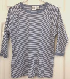 Jason Maxwell Knit Top 3/4 Sleeve Blue/White Stripe Size S Lace Collar/Cuffs #JasonMaxwell #KnitTop #CasualClubCareer
