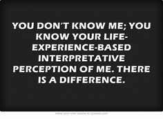 YOU DON'T KNOW ME; YOU KNOW YOUR LIFE-EXPERIENCE-BASED INTERPRETATIVE PERCEPTION OF ME. THERE IS A DIFFERENCE.