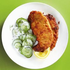 This pork schnitzel is delicious! We used Panko bread crumbs instead of regular bread crumbs, and also added a spice mix to the crumbs to add more flavour. It's awesome when it's served with the German Cucumber Salad in the picture! (http://food.chatelaine.com/Recipes/View/German-cucumber-salad)
