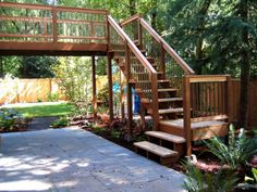 deck fence stairs staircase landscape landscape architecture wood wooden outdoors yard backyard balcony landscape design design