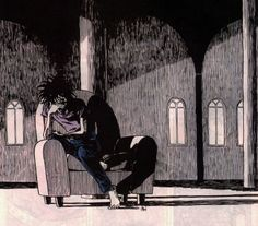 Morpheus from Sandman, possibly my favorite drawing of him, sitting alone in a big chair, after the death of Orpheus..