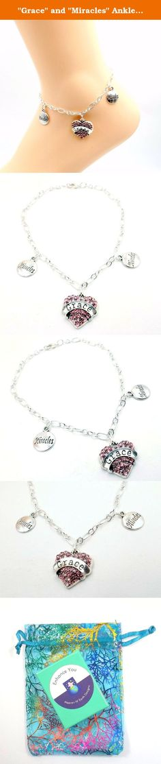 """Grace"" and ""Miracles"" Anklet - Sobriety Silver-tone ankle Bracelet- Sizes 8-11 Recovery Collection. Grace and miracles that is what recovery. The feature charm is deep pink rhinestones with th e word ""Grace"" and it is flanked by two smaller silver plated charms with ""Miracles on them"". They hang from a silver plated Figaro chain with matching clasp. It is available in sizes 8-11, please utilize customization for size choice. To determine proper size measure ankle just below ankle bone…"