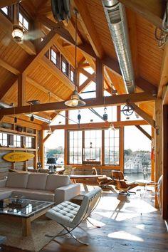 Beautiful timber frame boat house built by Hugh Lofting Timber Framing.