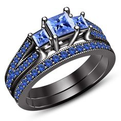 14K Black Gold FN 925 Silver Bridal Engagement Ring Set in Round Blue Sapphire