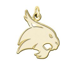 Texas State Bobcats Charm made in solid 14K yellow gold with a natural finish background