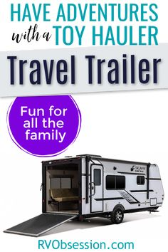 Buying a toy hauler travel trailer will allow you to fit all the adventure toys that you want to take with you, but still have room inside the RV for extra living space or a bunk room for the kids. Toy hauler travel trailer | Toy hauler RV | Toy haulers Toy Hauler Trailers, Toy Hauler Camper, Toy Hauler Travel Trailer, Camper Trailers, Camping Essentials, Camping Gear, Camping Outdoors, Camping Hacks, Best Travel Trailers