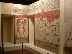 Frescos from Knossos palace  at the Athens  Museum