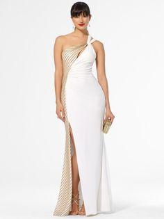 White & Gold One-Shoulder Twist Gown #CacheStyle