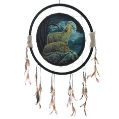 Decorative Mystical Wolf Pair 60cm Dreamcatcher Dreamcatchers are a great way to add colour and design to your home or workplace Made from a printed