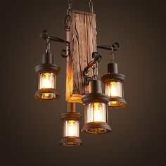 Industrial Pendant Light Ambient Light Wood / Bamboo Mini Style / Bulb N. Cheap Chandelier, Lantern Chandelier, Chandelier Lighting, Rustic Light Fixtures, Rustic Lighting, Home Lighting, Wood Pendant Light, Industrial Pendant Lights, Mini Pendant