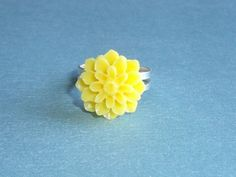Sunshiny Yellow Dahila Adjustable Ring, Summer Finger Fun in Silver | JanellDunlapJewelryDesigns - Jewelry on ArtFire