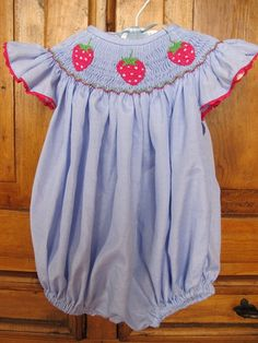 Strawberry Smocked Bubble