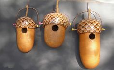 Acorn Bird Houses using gourds.  Cap is wood burned and removable for cleaning; drain holes in bottom of gourd.