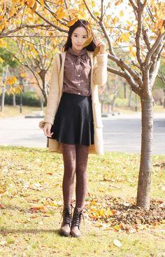 Longer skirt, but love the colour combo!